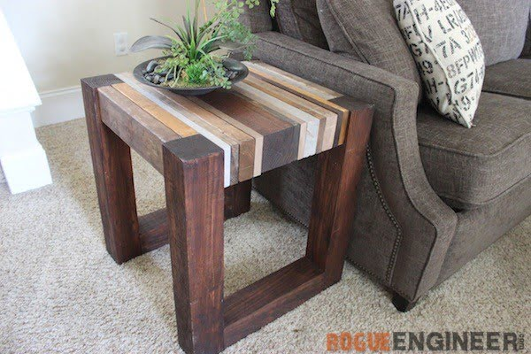 Scrap Wood Side Table { Free DIY Tutorial } Rogue Engineer    working