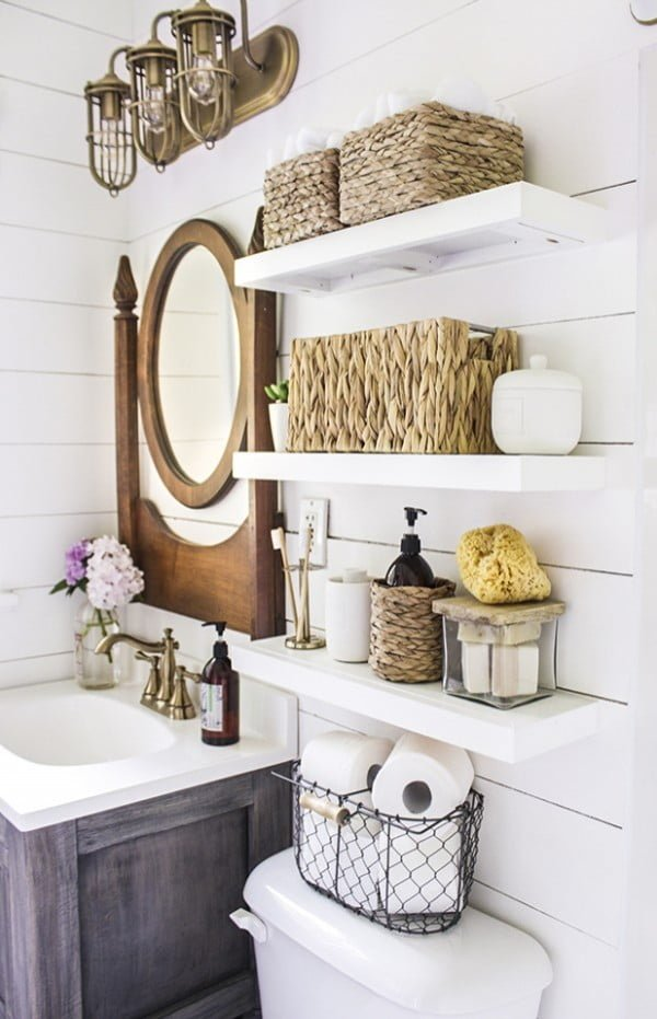 30 Easy DIY Bathroom Shelves to Increase Your Storage Space in Style