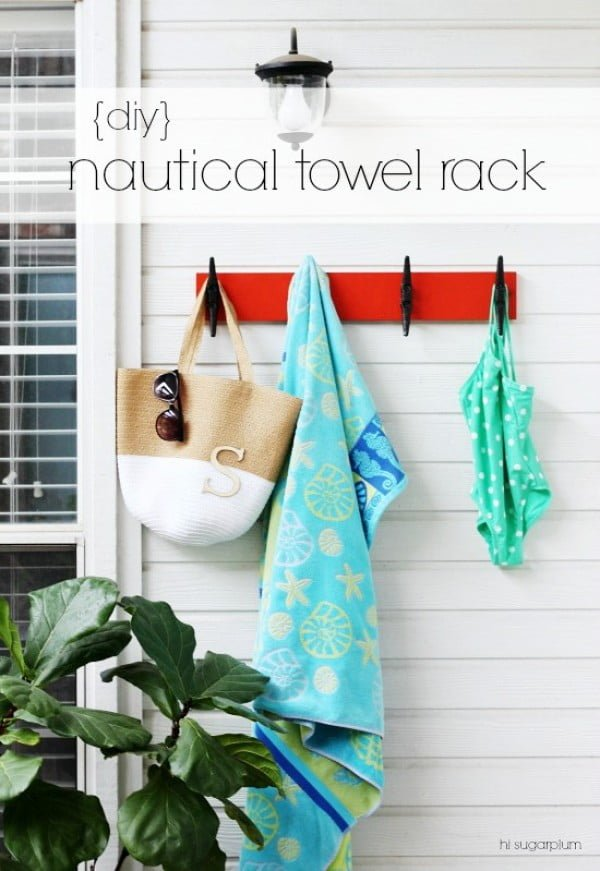 {Backyard DIY} Nautical Towel Rack