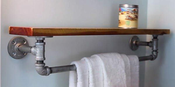 Fabulously Unique DIY Rustic Iron Towel Rack and Shelf!