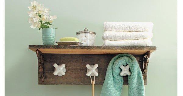 DIY Towel Rack with Faucet Taps