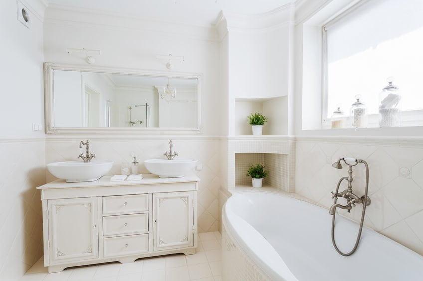 Spacious bathroom with storage