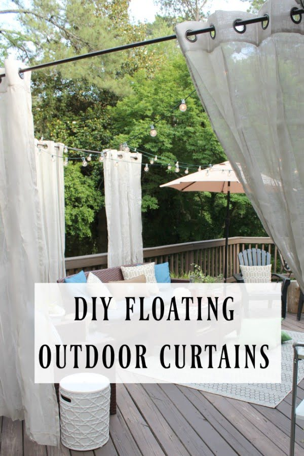 DIY Floating Outdoor Curtain Rod- Creating a Privacy Curtains for Deck