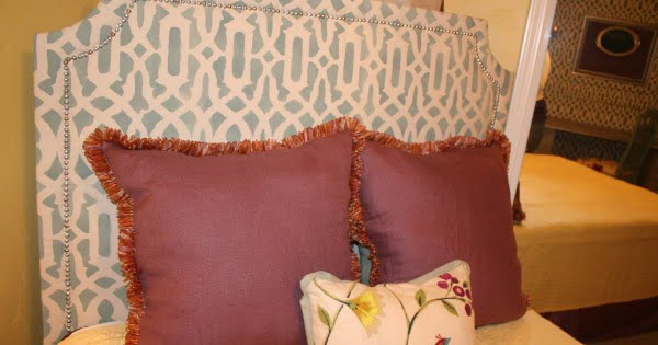 DIY Upholstered Headboard, with Stenciled Fabric'