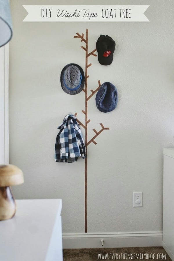 DIY Washi Tape Coat Tree…    tape