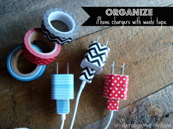 Organize your iPhone charges using washi tape    tape