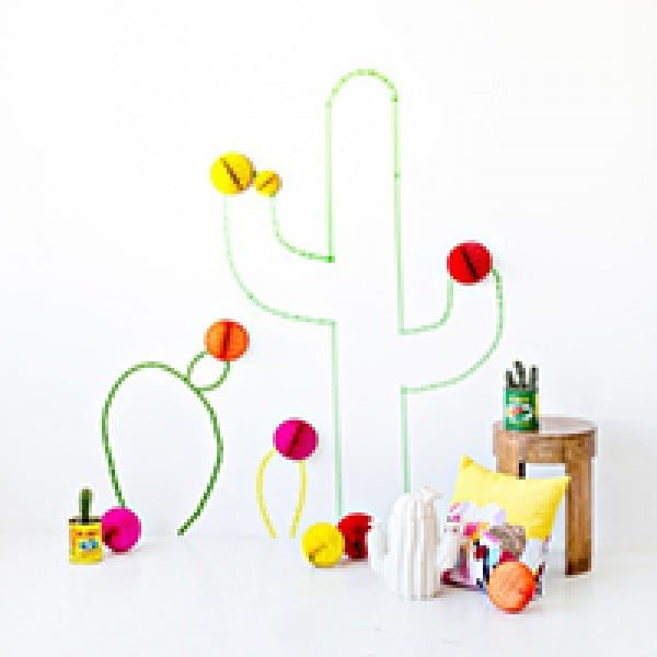 DIY Washi Tape Cactus Wall Art    tape