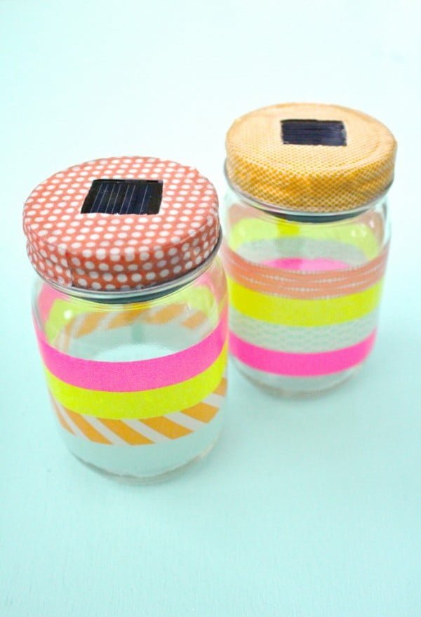 How to Make Washi Tape Mason Jar Solar Lights    tape