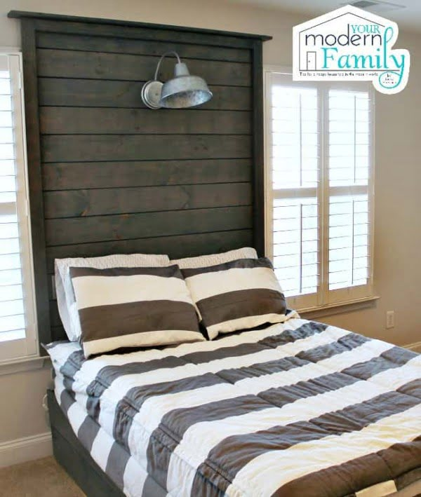 DIY wooden headboard with light & trundle