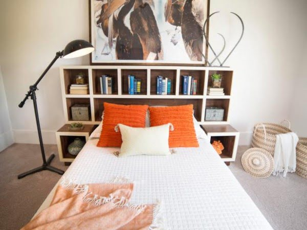 DIY headboard includes storage