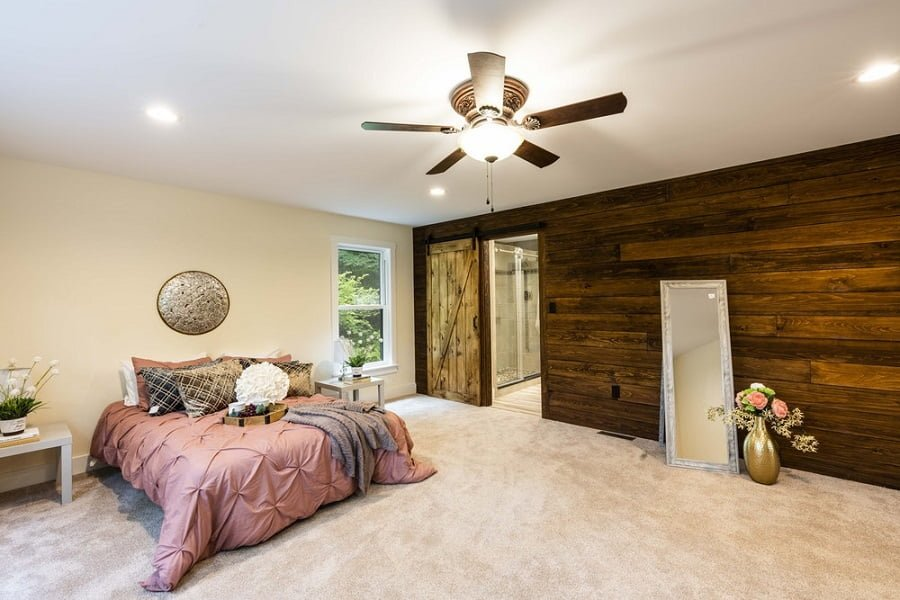 bedroom wood accent wall