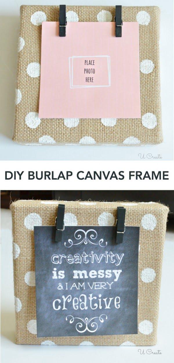 DIY Burlap Canvas Frame