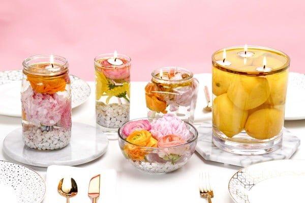 Floating Floral Candle Jars
