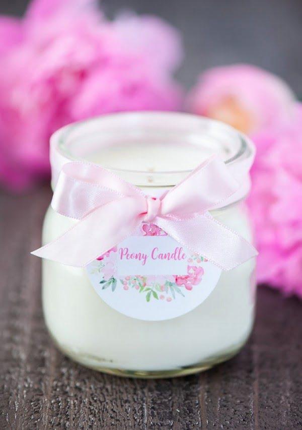 DIY Peony Mason Jar Candles