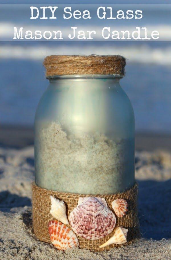DIY Sea Glass Mason Jar Candle Holder