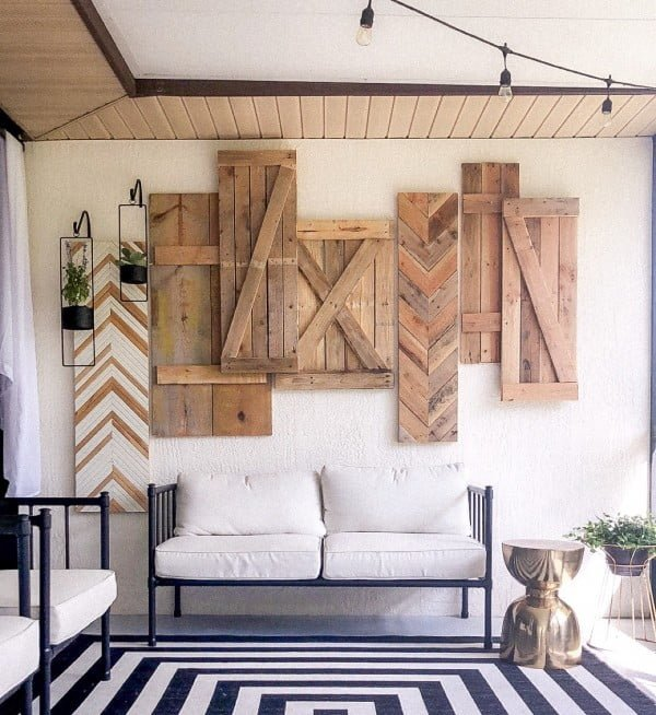 wall decor with wood shutters
