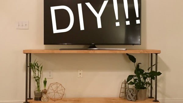 pipe and wood rustic tv stand