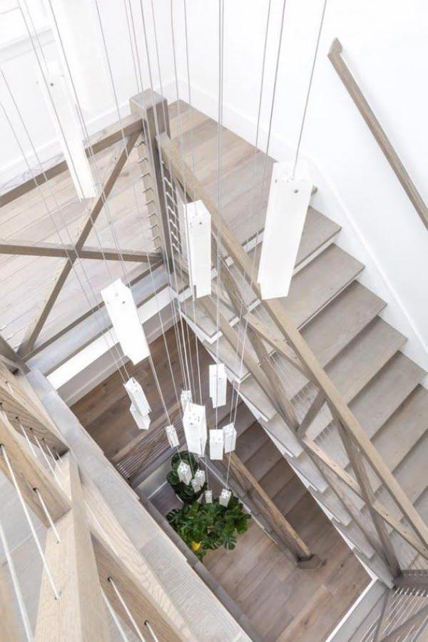 Foyer chandelier lighting made of stain glass