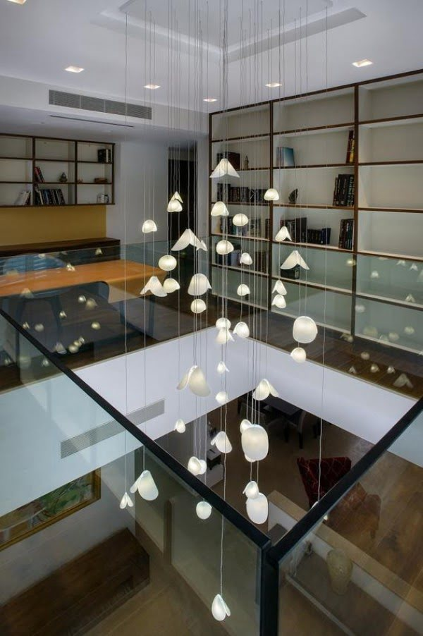 Modern stairwell lighting chandelier
