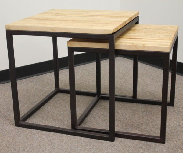 Nested Cube Butcher Block Tables welding projects