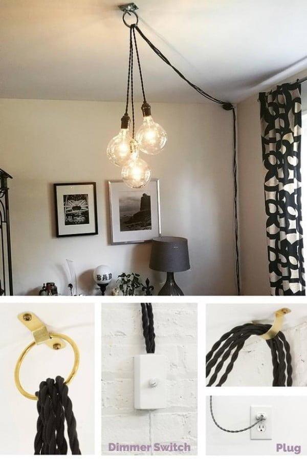 Plug In Pendant Lights Unique Chandelier PLUG IN Modern Hanging Pendant Lamp Industrial lighting unique ceiling Fixture Antique or LED Bulbs