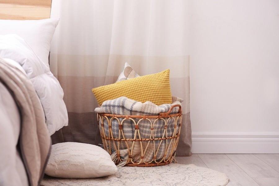 wicker bedroom storage