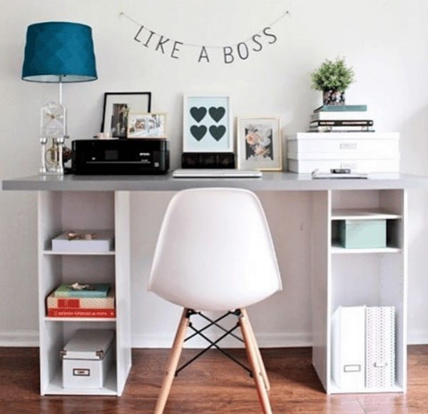 IKEA HACK Desk with Storage Shelves
