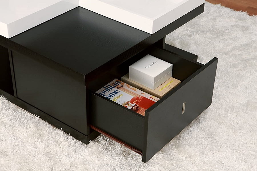 modern cube coffee table with storage drawers