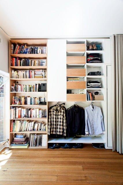 Bedroom Bookshelf With Clothes