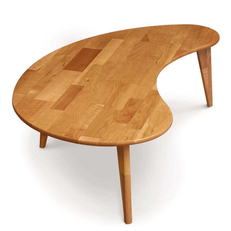 kidney-shaped mid-century coffee table