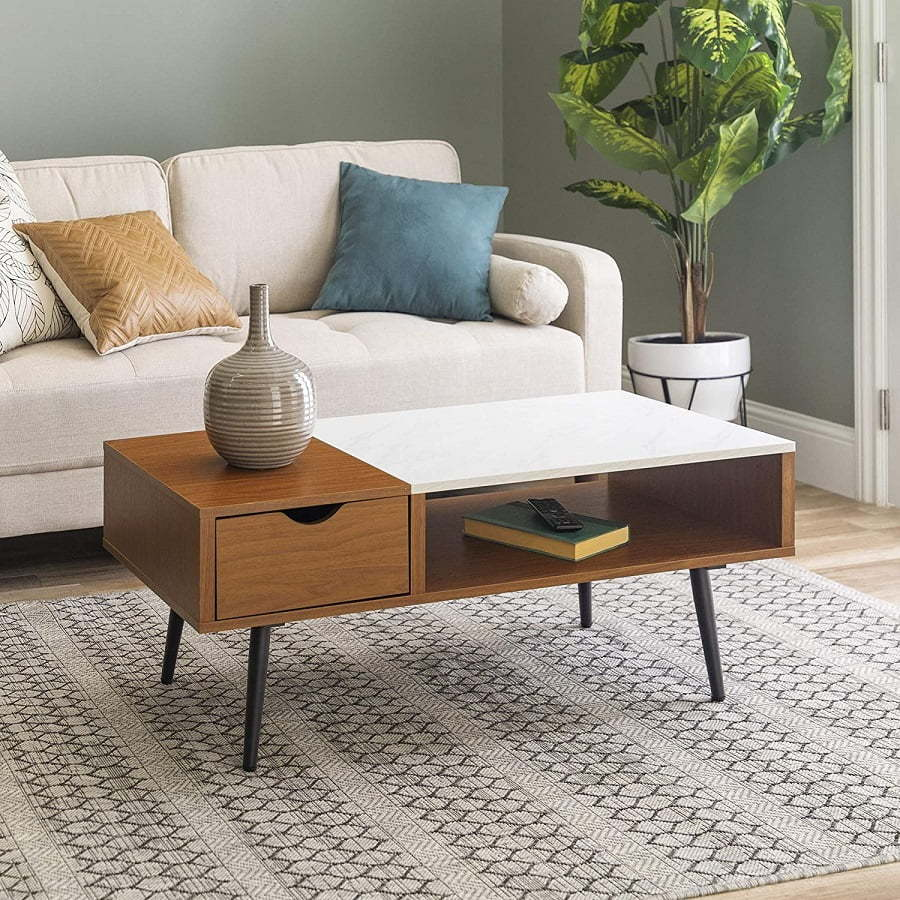 mid century coffee table with drawer