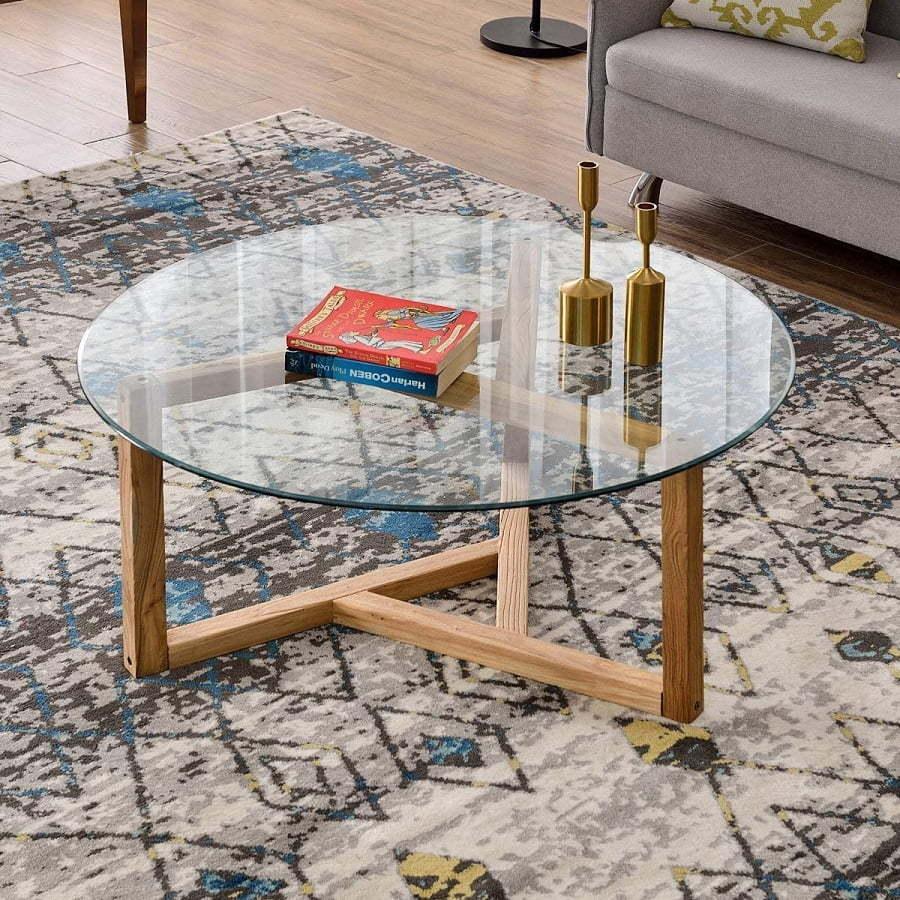 round glass mid-century modern coffee table