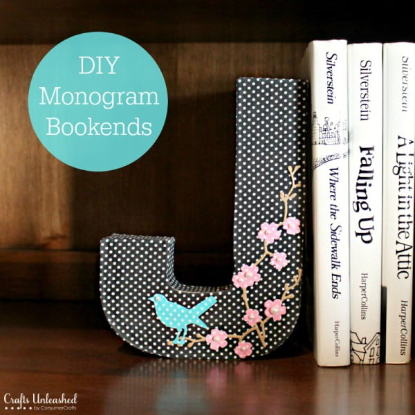 DIY Bookends: Fabric Covered Monogram