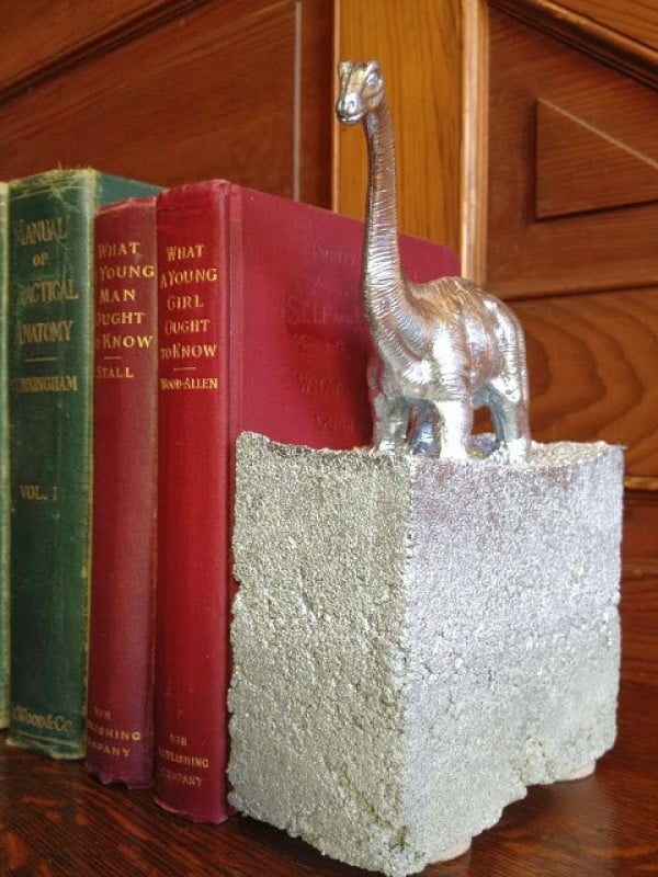 DIY bookends made from cement and toys