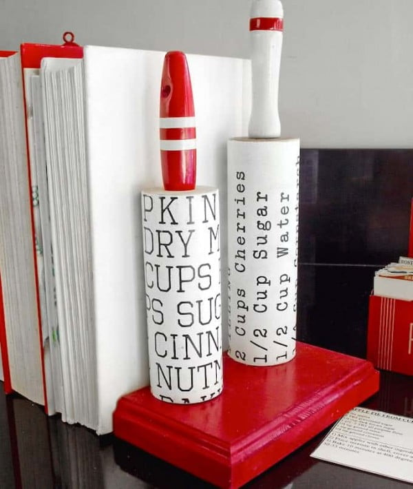 DIY Bookends Made from Vintage Rolling Pins