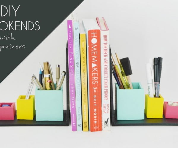DIY Bookends With Organizers