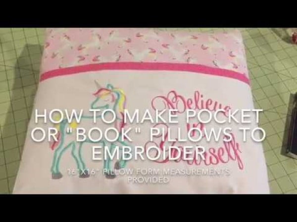 "How To Sew A Pocket ""Book"" pillow with lined pocket"