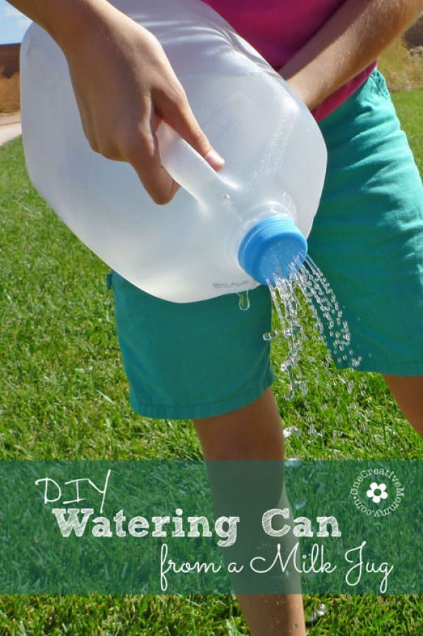 Pinned it. Made it. Love it! Watering can from a milk jug