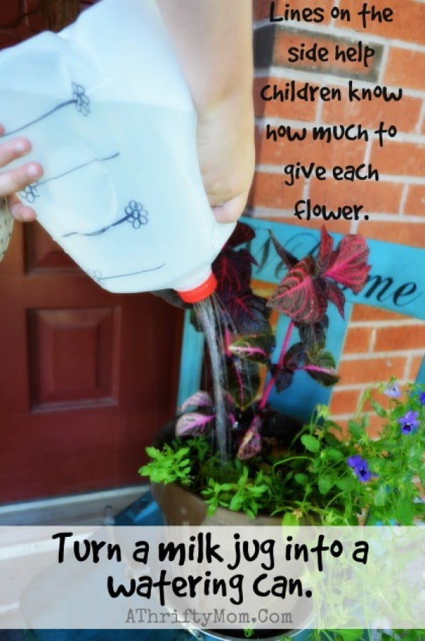 Turn a milk jug into a watering can #DIY #Upcycle #Garden