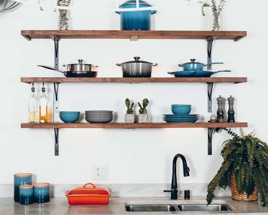 kitchen floating shelves storage