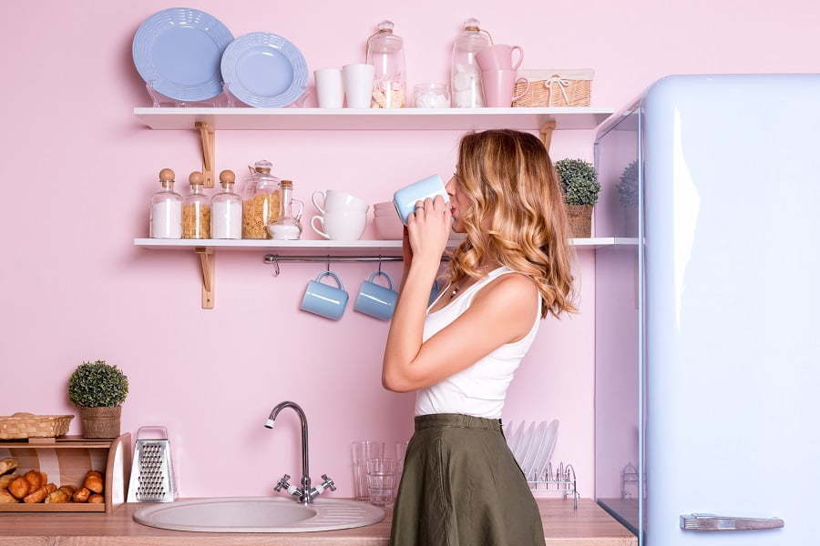 pink blue and yellow kitchen