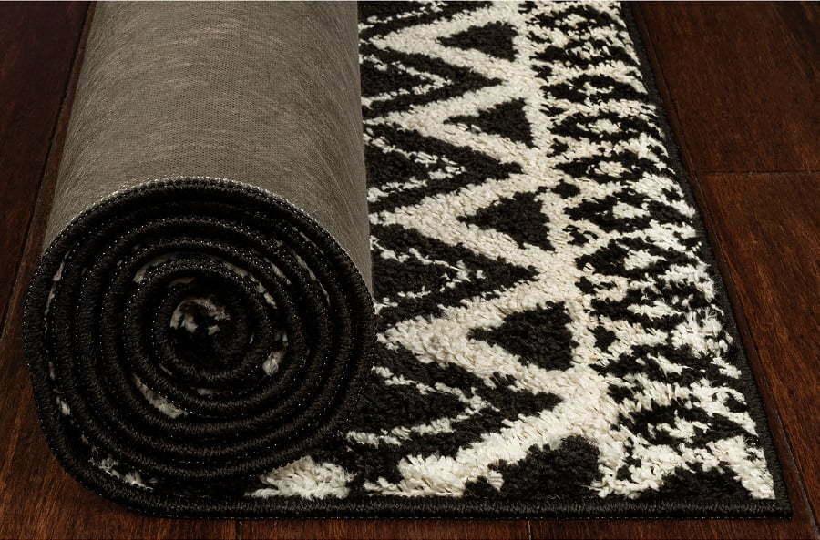 bohemian black and white rug