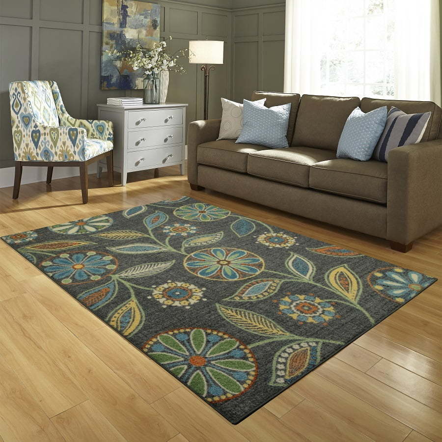 colorful floral accent rug