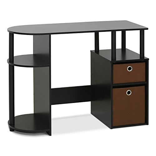 computer desk with bins