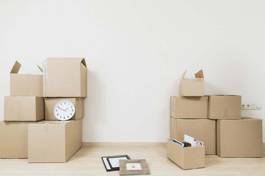 moving boxes and a clock