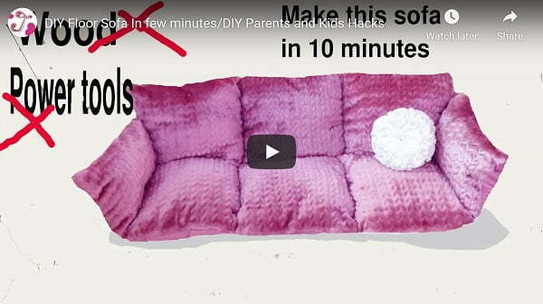 sew-floor sofa from pillows video