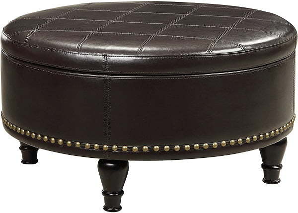 bonded leather round ottoman coffee table