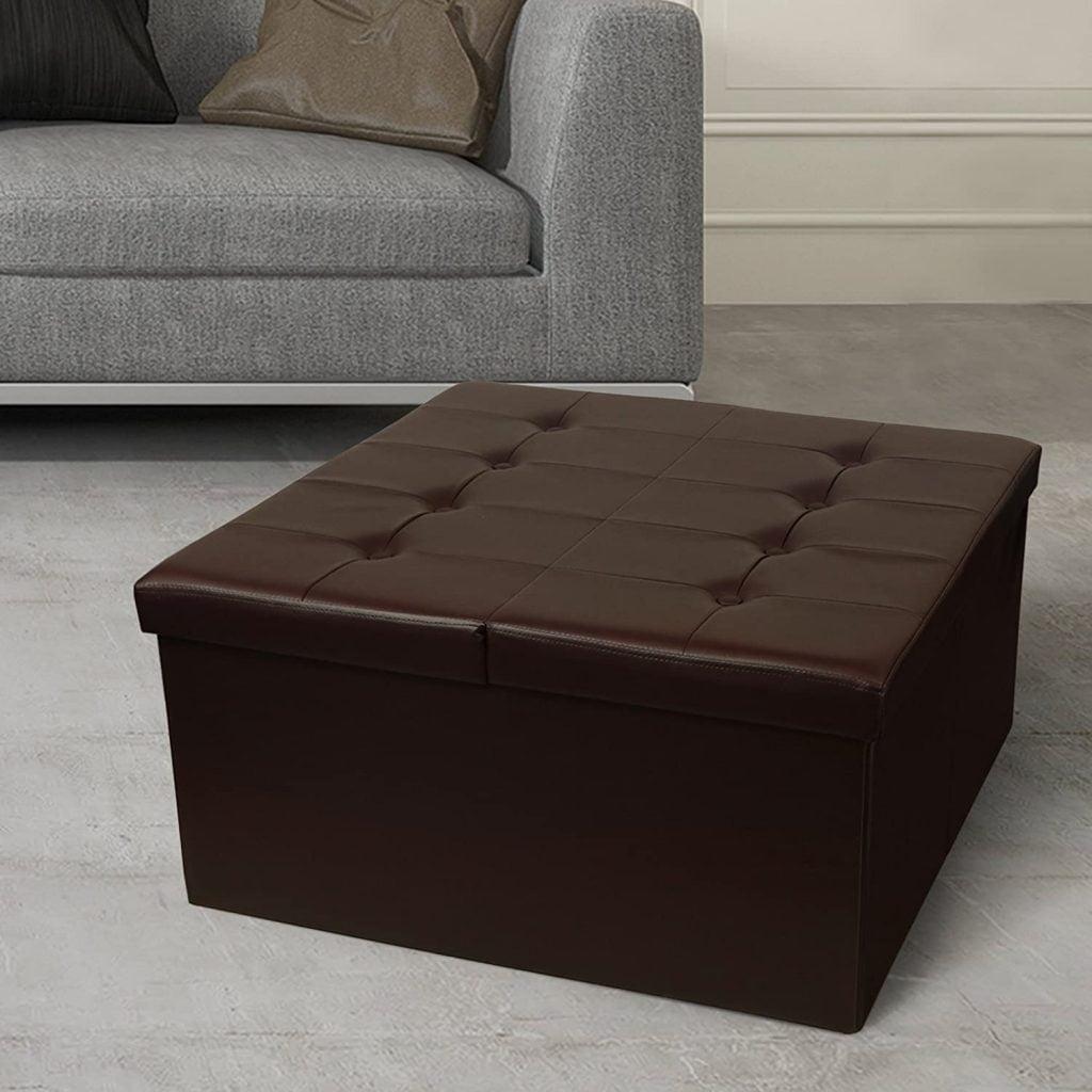 faux leather storage ottoman square