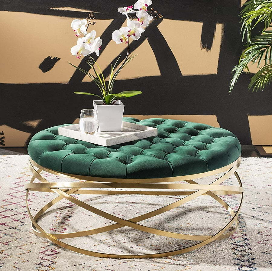 gold tufted round ottoman