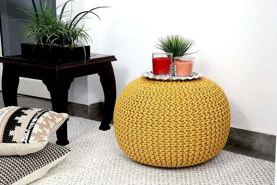 knitted pouf ottoman